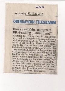 Zeitungsbericht in Unser Land ANA