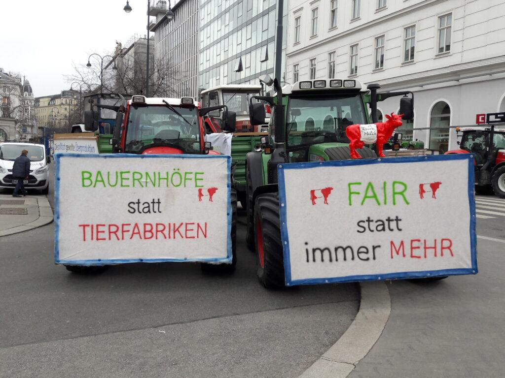 A faire Milch, IG-Milch, Gleichbehandlung, Diskriminierung, Freie Milch Austria, Alpenmilchlogistik, Wien-Aktion 2018, Traktoren, Solidaritätsaktion